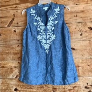 Charter Club embroidered 100% linen tunic